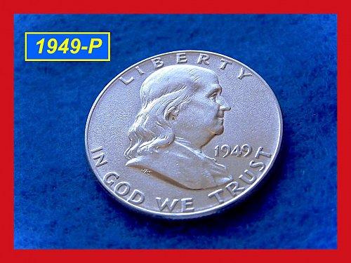 """1949-P  Franklin Half Dollar (Full Bell Lines) """"XF-45""""–––  (#1527)"""