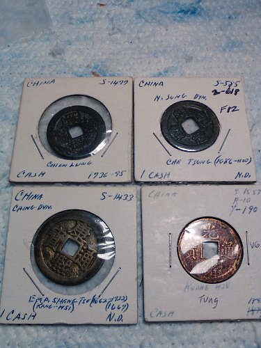 LOT OF 4 CHINA CASH COINS