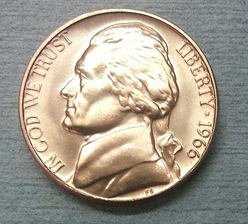 1966 SMS BU Jefferson Nickel no mint mark