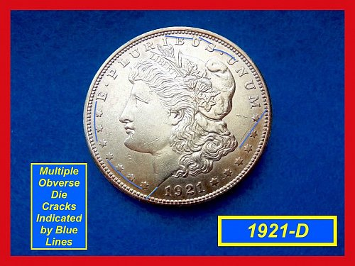 "1921-D Morgan Silver Dollar • • •   ""AU-50/53""  (#5268)"
