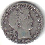 1894 S   BARBER HALF DOLLAR