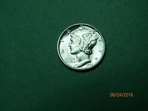 1941 D Mercury Dime Gem Uncirculated Coin Full Split Bands   h65