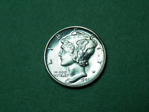 1941 S Mercury Dime Gem Uncirculated Split Band Coin   h59