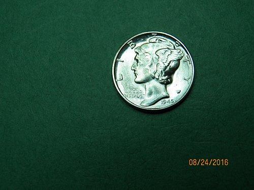 1945 P Mercury Dime Gem Uncirculated Coin   h66