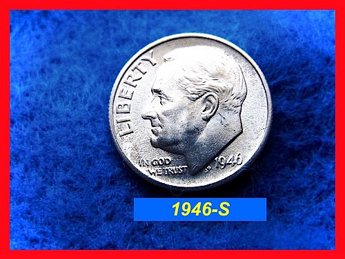 "1946-S Roosevelt Dime Gem ••• ""AU-58"" ••• 90% Silver    (#3321)"