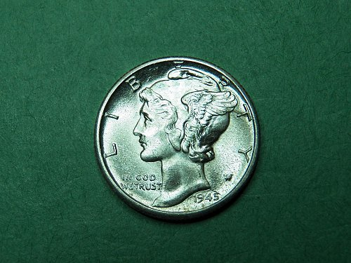 1945 D Brilliant Uncirculated Split Band Coin   h67