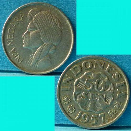 Indonesia 50 Sen 1957 km 10.2
