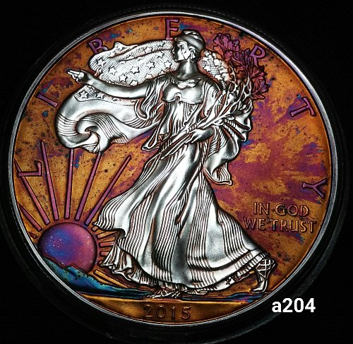 2015 Rainbow Toned Silver American Eagle 1 troy ounce silver #a204