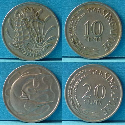 Singapore 10 and 20 Cents 2 pcs 1968 km 3 & 4