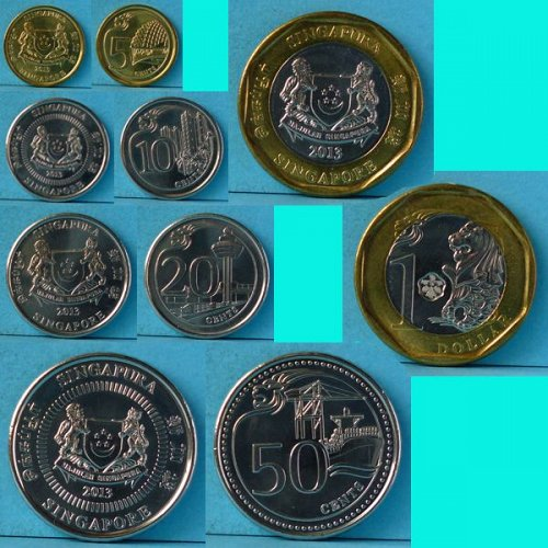 Singapore 3rd series 5 Cents to $1 - 5 pieces 2013