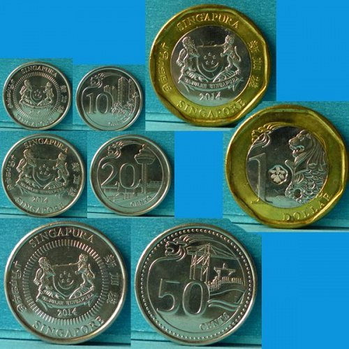 Singapore 3rd series 10 Cents to $1 - 4 pieces 2014
