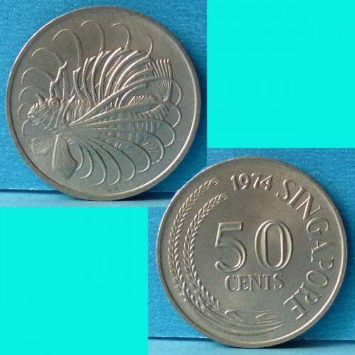 Singapore 50 Cents 1974 km 5