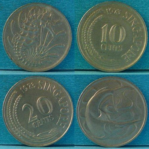 Singapore 10 and 20 Cents 2 pcs 1973 km 3 & 4