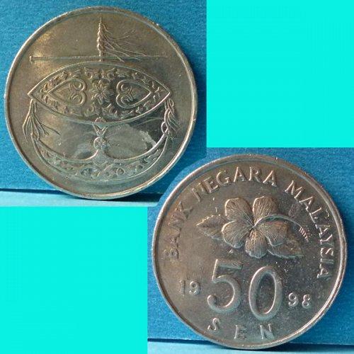 Malaysia 50 Cents 1998 km 53