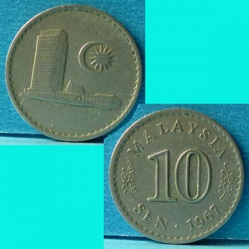 Malaysia 10 Cents 1967 km 3