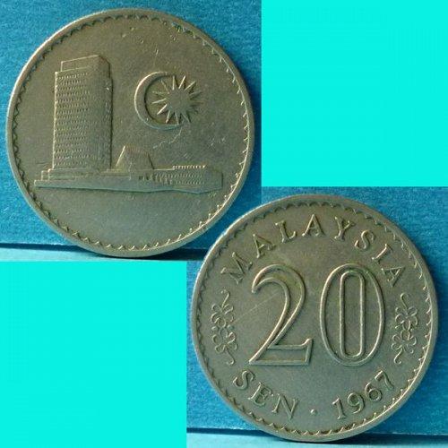 Malaysia 20 Cents 1967 km 4
