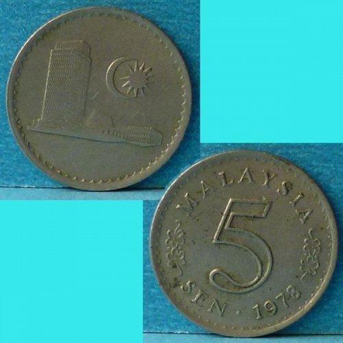 Malaysia 5 Cents 1978 km 2