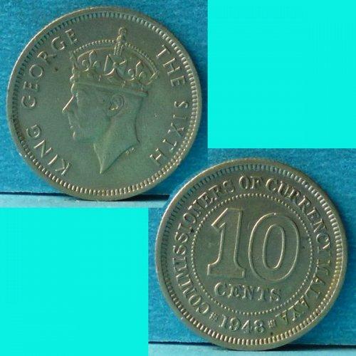 Malaya 10 Cents 1948 km 8