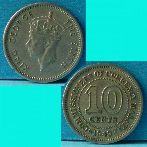 Malaya 10 Cents 1949 km 8