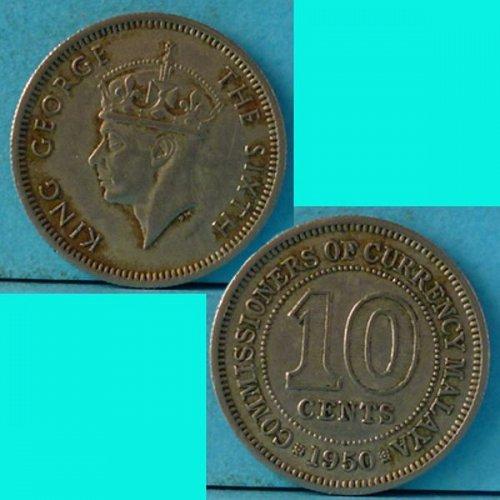 Malaya 10 Cents 1950 km 8