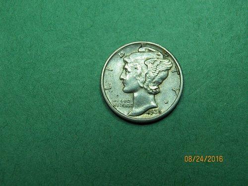 1935 D Mercury Dime Almost Uncirculated Coin   i15