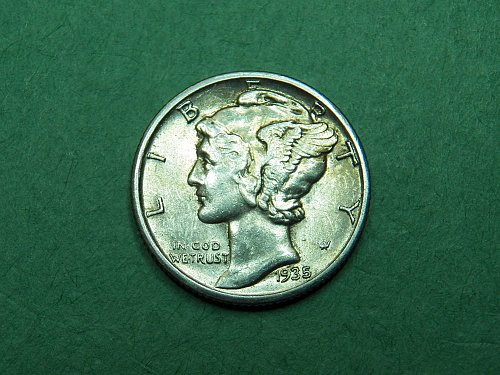 1935 S Mercury Dime Almost Uncirculated Coin   i16