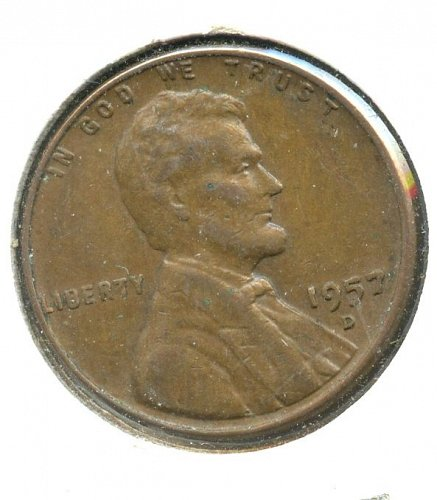 1957 D Lincoln Cent with the B filled in