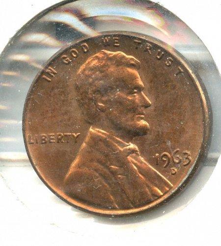 1963 D/D Lincoln Memorial Cent Denver