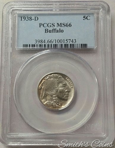 1938 D Buffalo Nickel ~ PCGS MS 66