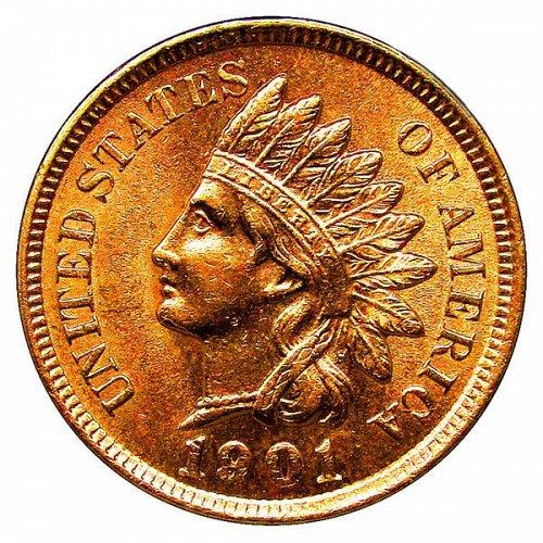 1901 Indian Head Cent - MS RD - Red Gem BU - 4 Diamonds