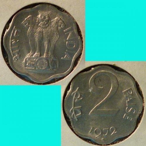 India 2 Paise 1972 (C) km 13.6