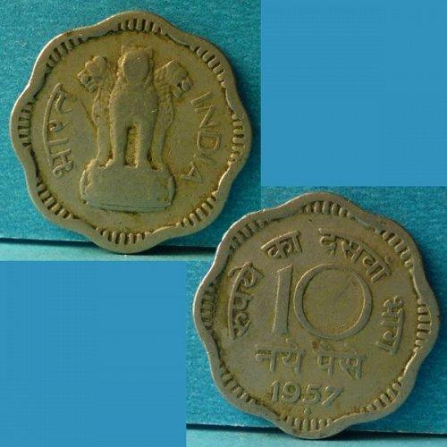 India 10 Nya Paise 1957 B km 24.1
