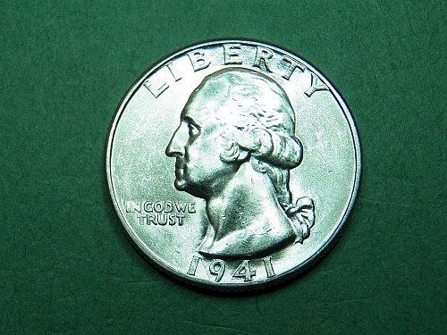 1941 P Washington Quarter Brilliant Uncirculated Coin   h74