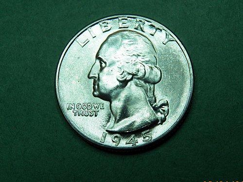 1945 D Washington Quarter Brilliant Uncirculated Coin   h77