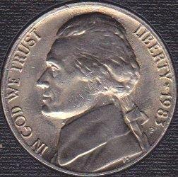 1983 P Jefferson Nickel