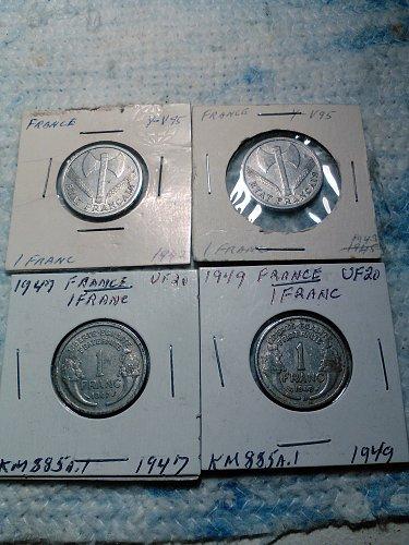 LOT OF 4 FRACE 1 FRANC COINS