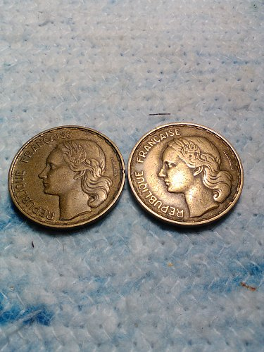 LOT OF 2 FRANCE 50 FRANC COINS