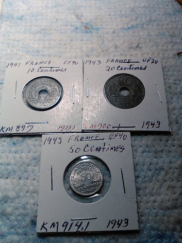 LOT OF 3 FRANCE 10-20-50 CENTIMES