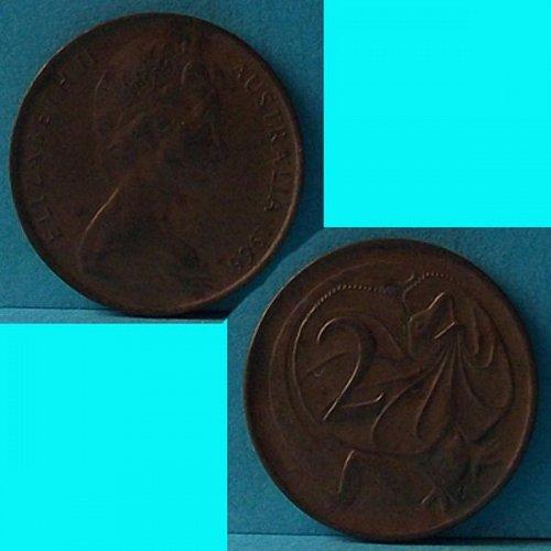 Australia 2 Cents 1966 QEII km 63
