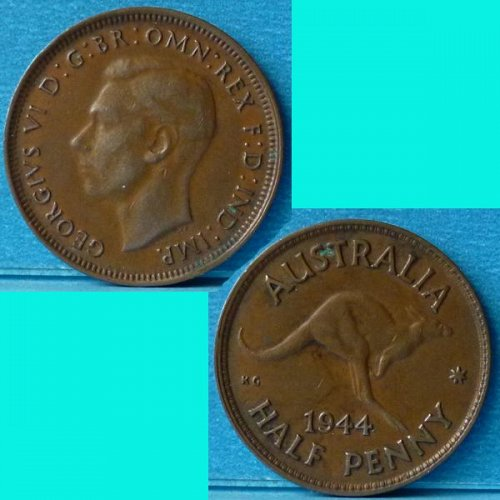 Australia 1/2 Penny 1944 (m) KGVI km 41