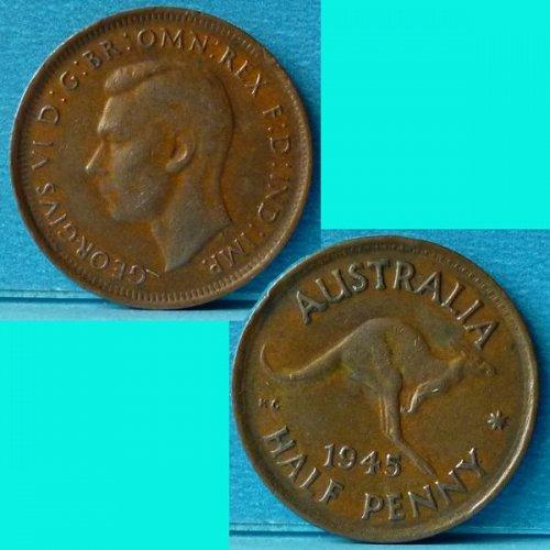 Australia 1/2 Penny 1945 (p) KGVI km 41
