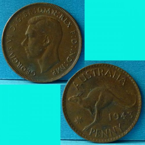 Australia 1 Penny 1943 (m) KGVI km 36