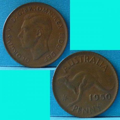 Australia 1 Penny 1950 (p) KGVI km 43