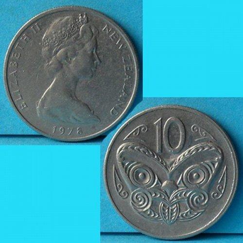 New Zealand 10 Cents 1978 QEII km 41