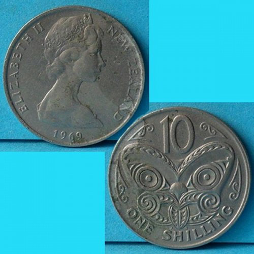 New Zealand 1 Shilling or 10 Cents 1969 QEII km 35