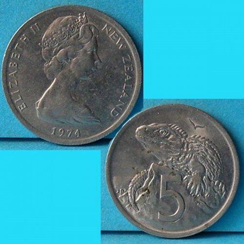 New Zealand 5 Cents 1974 QEII km 34