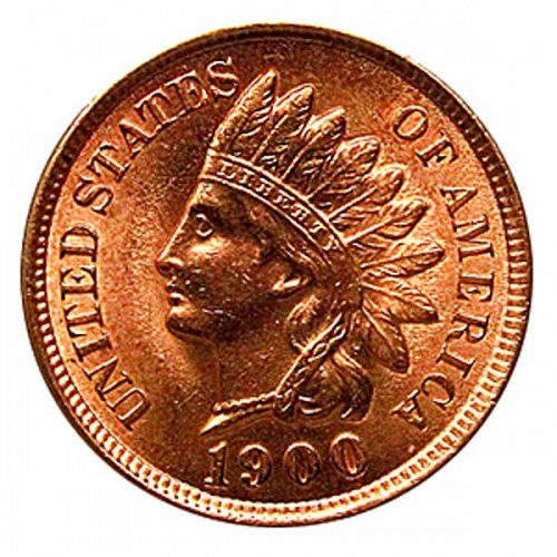 1900 Indian Head Cent - MS RD - Red Gem BU - 4 Diamonds