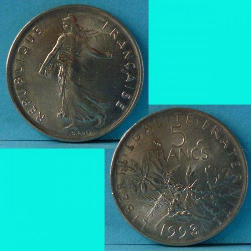 France 5 Franc 1993 km 926a.1