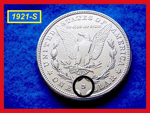 """1921-S MORGAN DOLLAR •••  """"AU-53/55""""  (#5260)"""