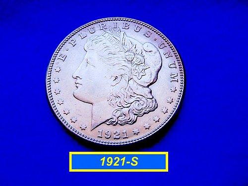 """1921-S MORGAN DOLLAR •••  """"AU-53/55""""  (#5270)"""